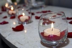 Wedding, Flowers, Reception, Red, Decor, Candles, Rose petals