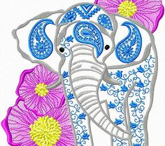 Elephant embroidery design. Animals embroidery design. Animals embroidery