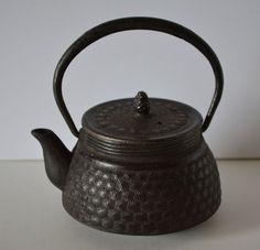 Tetsubin iron kyusu teapot, vintage Japanese, stamped