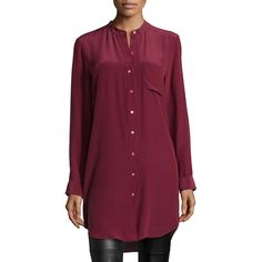 b20dc1305fd Eileen Fisher Long-Sleeve Silk Tunic Shirt ( 140) ❤ liked on Polyvore