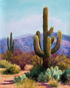Saguaro Canvas Print featuring the pastel Saguaro by Candy Mayer Cactus Painting, Cactus Art, Rock Painting, Landscape Art, Landscape Paintings, Landscapes, Southwestern Art, Desert Art, Pastel Art
