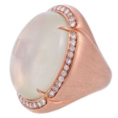 51ct. Moonstone Diamond Rose Gold Florentine Engraved Ring | From a unique collection of vintage cocktail rings at http://www.1stdibs.com/jewelry/rings/cocktail-rings/