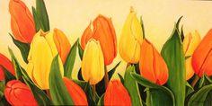 Gele en oranje tulpen acryl schilderij 120 x 80 Monique Heijnis