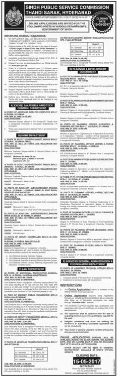 Jobs in Sindh Public Service Commission, Advertisement No.01/201