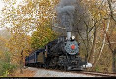 """W&W #98, a 4-4-0 """"American"""" engine brings an Autumn Leaf Special past the normal Mt Cuba terminus and on towards Hockessin, DE. Engine 98 was built by the American Locomotive Company of Schenectady, N.Y., in January 1909 and formerly worked in passenger service on the Mississippi Central."""