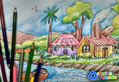 Colour pencil sketches of village Scenery Drawing For Kids, Painting For Kids, Children Painting, Color Pencil Sketch, Pencil Art, Pencil Painting, Deco, Art Drawings, Pencil Drawings