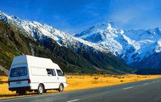 New Zealand, Mount Cook National Park, van in fore of mountains