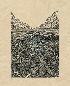 """Biodégradation"" Linocut on japanese paper by Luca Villani"