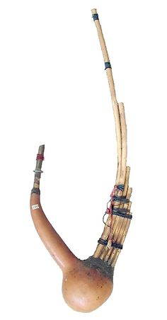 Hnyìn  Date: late 19th Century  Geography: Myanmar (formerly Burma)  Medium: Bamboo, gourd  Dimensions: Longest pipe 55.9 (22 in.), shortest 12.7 cm (5 in.)  Classification: Aerophone-Free Reed-mouth organ