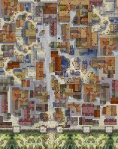 A Mess of a City Map (Talos save me) - battlemaps Fantasy City Map, Fantasy World Map, Fantasy Places, Dungeons And Dragons Homebrew, D&d Dungeons And Dragons, Dnd World Map, Pathfinder Maps, Village Map, Rpg Map