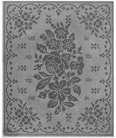 Filet Crochet 11321 World crochet: Tablecloth 84 Filet Crochet Charts, Crochet Cross, Knitting Charts, Thread Crochet, Crochet Motif, Knitting Stitches, Crochet Doilies, Crochet Lace, Crochet Table Runner