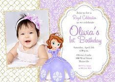 Sofia The First Invitation Editable Text Customizable Princess