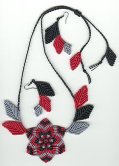 Micromacrame Flower and Leaves Necklace Set by MonkeyBiznessJewelry on Etsy