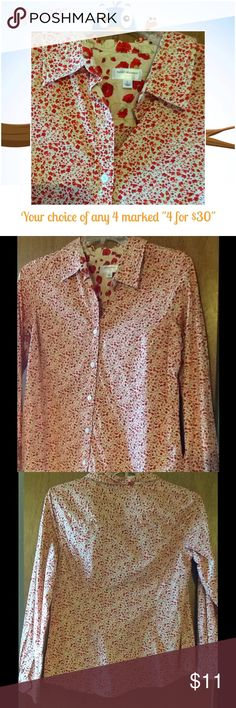 ISAAC MIRAHI FLORAL TOP Floral pattern button front long sleeve blouse. Marked Large but runs a little small. Good condition. No Stains. Isaac Mizrahi Tops Blouses