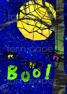 Creepy Spiders  Scary Halloween Card  Happy by tornpaperco on Etsy, $4.00