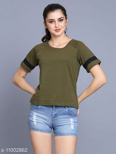 Checkout this latest Tshirts Product Name: *stylish half stripe roundneck t-shirt/top for women* Fabric: Cotton Sleeve Length: Short Sleeves Pattern: Printed Multipack: 1 Sizes: S, M, L, XL Country of Origin: India Easy Returns Available In Case Of Any Issue   Catalog Rating: ★3.9 (222)  Catalog Name: Urbane Fashionable Women Tshirts CatalogID_2039965 C79-SC1021 Code: 082-11002862-816