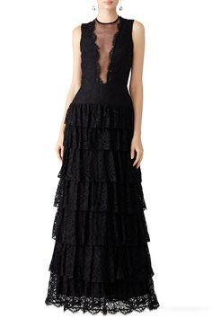Black Lace Illusion Gown by Nicole Miller