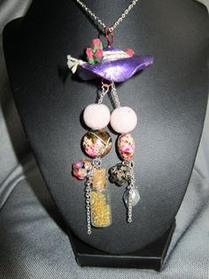 Charms Jewelry Necklace hat beads fairy dust by CulberryMountain