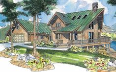 A V-shaped deck reflects the A-frame shape of this contemporary log home plan. Natural light washes into the richly glassed great room through six skylights plus windows on two levels. Cupboard and counter space is abundant in the kitchen, while a roomy pantry and large utility room are nearby.