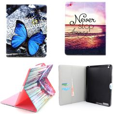 YH Luxury  New OWI Tower PU Leather Case With Card Slots For Apple iPad 2 3 4  Case Folio Stand Protector Skin For iPad4
