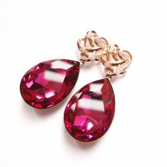 AAngelina Jolies Inspired Extra Large Swarovski Crystal Fuchsia Pink Earrings with Gold Plated 925 Sterling Silver Posts by ParisOhLaLa, $59.99