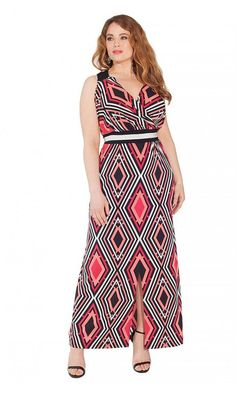 IGIGI Women's Plus Size Krystal Maxi Dress in Ruby Deco A bold art deco print smartens this surplice neck maxi dress. Designed with contrast waistband to give Designer Plus Size Clothing, Plus Size Designers, Designer Dresses, Plus Size Men, Beautiful Maxi Dresses, Nice Dresses, Plus Size Maxi Dresses, Plus Size Outfits