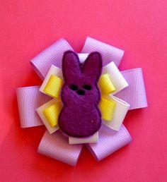 "handmade ""Peeps"" hair clips *purple*"