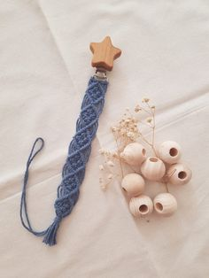 Items similar to Handwoven Macrame Baby Pacifier Holder With Maple Wood Clip on Etsy - Vine Ideas Macrame Art, Macrame Knots, Micro Macrame, Weaving Projects, Macrame Projects, Crochet Projects, Crochet Pacifier Holder, Art Macramé, Diy Bebe