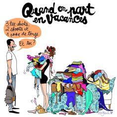 "13.3 k mentions J'aime, 502 commentaires - Margaux Motin 🌱✨🍄⭐️🌞 (@margauxmotin) sur Instagram: ""De l'art de voyager léger. #cestLesVacancesCeSoir #MartiniqueNousVoila #holidays #travel #fashion…"" Sign O' The Times, French Illustration, Team Leo, Funny Couples, Life Humor, Funny Tweets, Vignettes, T Shirts, Hilarious"