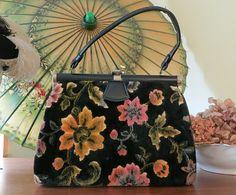 Large Plush Floral Tapestry Purse - Vintage 1960s Black Floral Carpet Bag