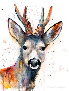 watercolor images of deer Watercolor Paintings Of Animals, Watercolor Pictures, Watercolor Art, Painting Prints, Original Paintings, Art Prints, Corzo Animal, Canvas Art, Canvas Prints