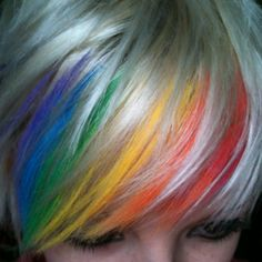 Hair chalking :) How fun to do team colors for games!