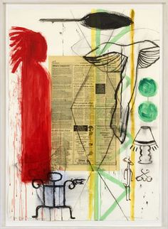 "Juane Quick-to-See Smith: ""I See Red Series: What's Happening""   mixed media"