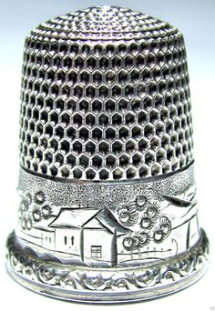 HUGE ANTIQUE VICTORIAN SIMON STERLING SILVER THIMBLE SUNRISE+HOUSE+SUNSET DESIGN