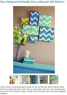 DIY wall decor with shoeboxes