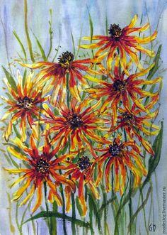 Купить Август. Рудбекии - разноцветный, август, рудбекии, картина для интерьера, Живопись, акварель, акварельные цветы
