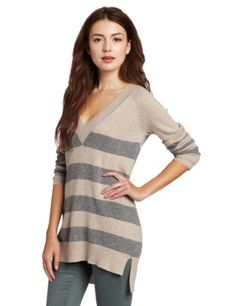 Christopher Fischer Women`s 100% Cashmere Striped Boyfriend Sweater $112.50