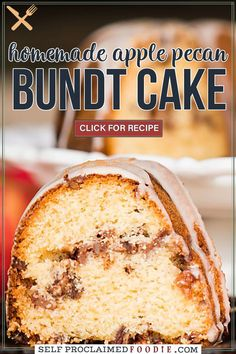 Apple Pecan Bundt Cake is an easy, made from scratch moist cake recipe full of your favorite fall flavors. It is perfect to enjoy for breakfast or dessert! Cake Frosting Recipe, Frosting Recipes, Cupcake Recipes, Cupcake Cakes, Cupcakes, Sweets Recipes, Apple Recipes, Fall Recipes, Drink Recipes