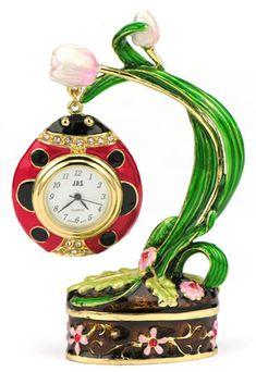 Flower with Ladybug  Miniature Clock
