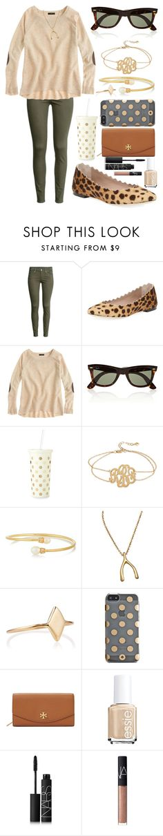 """""""I need a sweeter with elbow patches"""" by emmacaseyyyy ❤ liked on Polyvore featuring H&M, Chloé, J.Crew, Ray-Ban, Kate Spade, Kenneth Jay Lane, Meredith Hahn, LUMO, Tory Burch and Essie"""