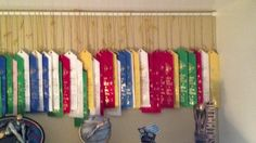 Fun way to display ribbons in a book case! Tension rod behind trophies.