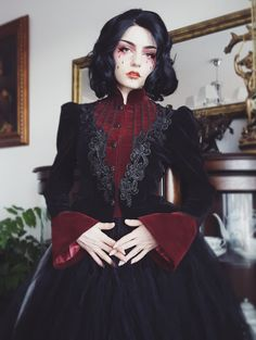 Black And Red Gothic Scissor-Tail Dress Jacket For Women . uk|We Ship Worldwide Gothic Lolita Fashion, Gothic Outfits, Gothic Dress, Victorian Fashion, Victorian Era, Victorian Outfits, Punk Dress, Steampunk Fashion, Witch Dress
