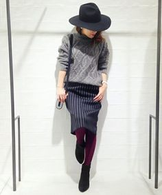 DRESSLAVE(ドレスレイブ)のdouble face stripe pencil skirt(スカート)|詳細画像