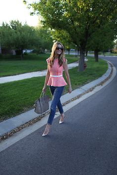Rebecca Taylor top, J.Crew pants, Manolo Blahnik pumps, Celine bag | Capris outfit details: Gap dress, Salt-water sandals