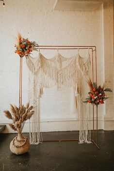 Dusty orange bohemian wedding editorial with orange, black, gray, and brass colors. Boho and rustic wedding styling. Photos by Abigail Renee Photography. Hanging Flowers Wedding, Boho Wedding Decorations, Ceremony Decorations, Wedding Ceremony Backdrop, Ceremony Arch, Wedding Aisles, Wedding Backdrops, Wedding Ceremonies, Wedding Reception