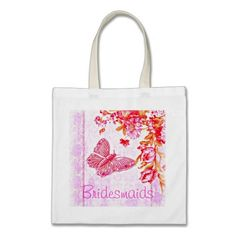 Flutter Bug Pink Bridesmaids' Tote. Lovely gift for the bride's team. #shabby #pink #wedding