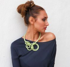 Hey, I found this really awesome Etsy listing at https://www.etsy.com/listing/69301189/asymmetrical-statement-necklace-lime