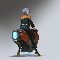 Hover bike by Skiorh on DeviantArt Futuristic Motorcycle, Futuristic Art, Character Concept, Character Art, Scooter Moto, Hover Bike, War Jet, Arte Cyberpunk, Science Fiction Art