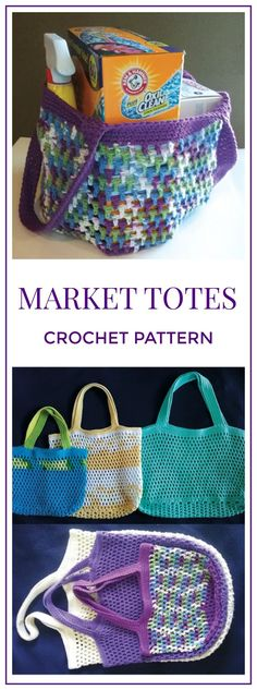 Market Totes, These handy bags come in 6 different sizes—3 round bottom and 3 rectangle bottom. Farmer's Market, Resuable, Tote, Bag, Grocery Bag #crochet #crochetpattern #ad #tote #diy #marketbag