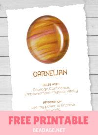 Carnelian Free Printable Gemstone Properties Card #gemstones #crystals